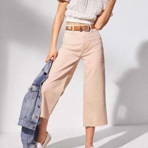 Blush Pink Cut Off Denim Culottes